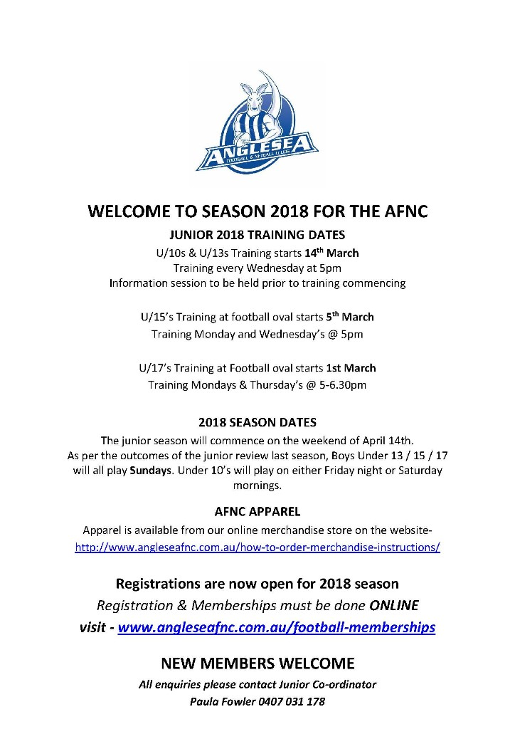 2018 AFNC JUNIOR TRAINING DATES