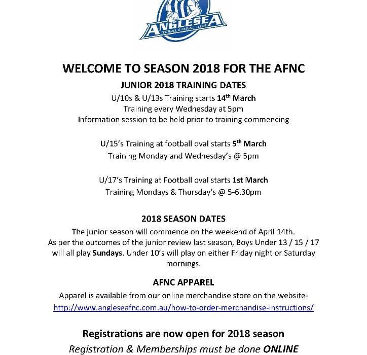 2018 AFNC JUNIOR TRAINING DATES