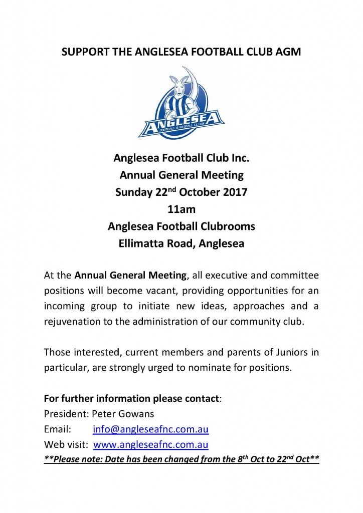 SUPPORT THE ANGLESEA FOOTBALL CLUB AGM